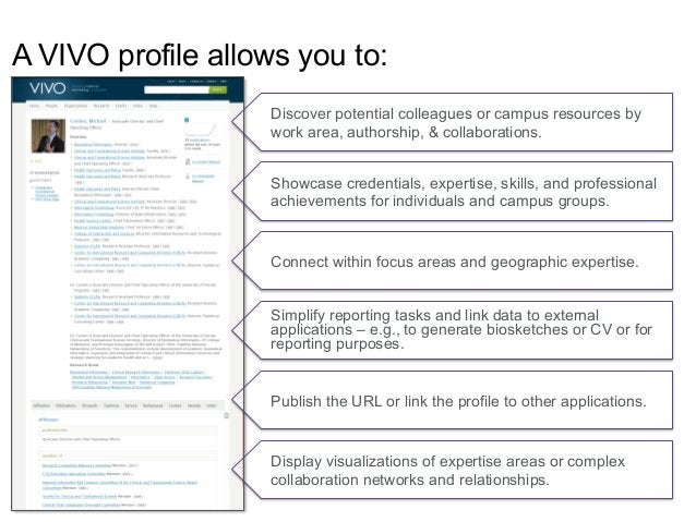 A VIVO profile allows you to: Showcase credentials, expertise, skills, and professional achievements for individuals and c...