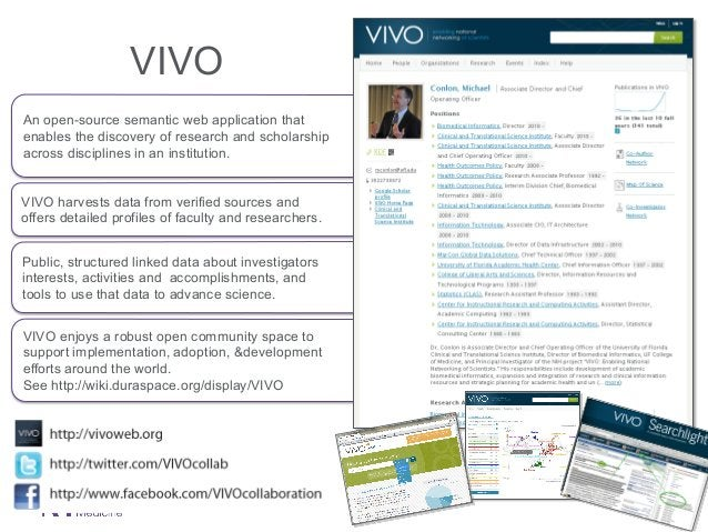 VIVO An open-source semantic web application that enables the discovery of research and scholarship across disciplines in ...