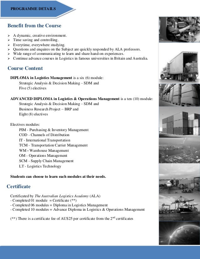 ALA Diploma in Logistics Management