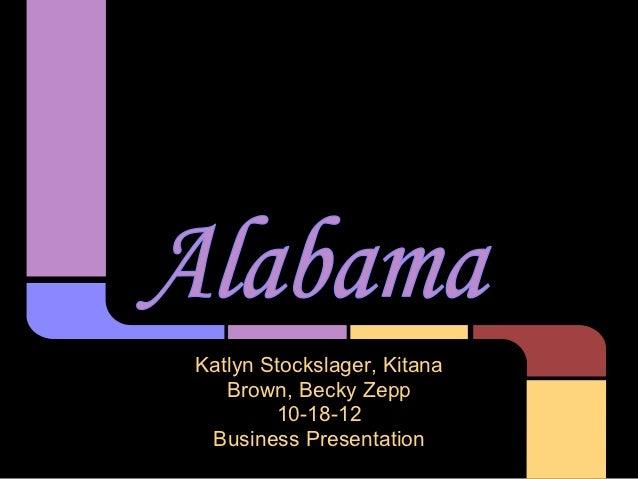 Katlyn Stockslager, Kitana   Brown, Becky Zepp        10-18-12 Business Presentation
