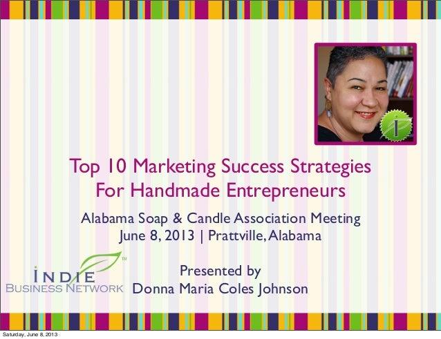 Top 10 Marketing Success StrategiesFor Handmade EntrepreneursAlabama Soap & Candle Association MeetingJune 8, 2013   Pratt...