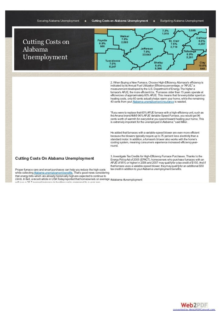 Securing Alabama Unemployment               Cutting Costs on Alabama Unemployment                      Budgeting Alabama U...