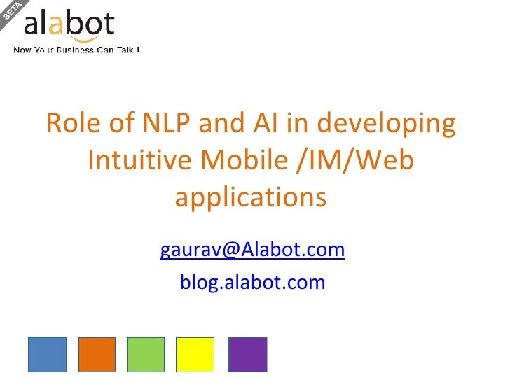 Role of NLP and AI in developing Intuitive Mobile /IM/Web applications [email_address] blog.alabot.com
