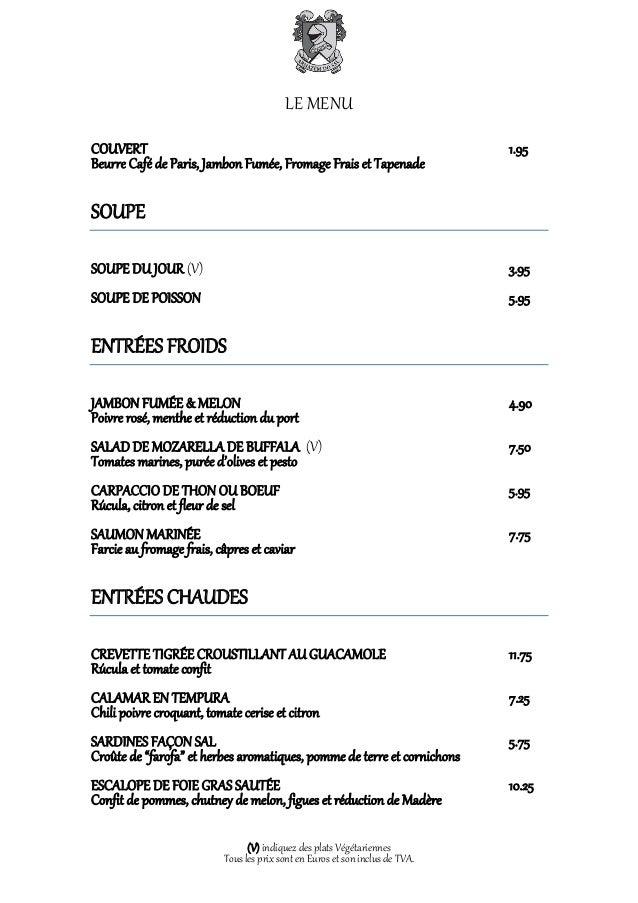 LE MENUCOUVERT                                                                       1.95Beurre Café de Paris, Jambon Fumé...