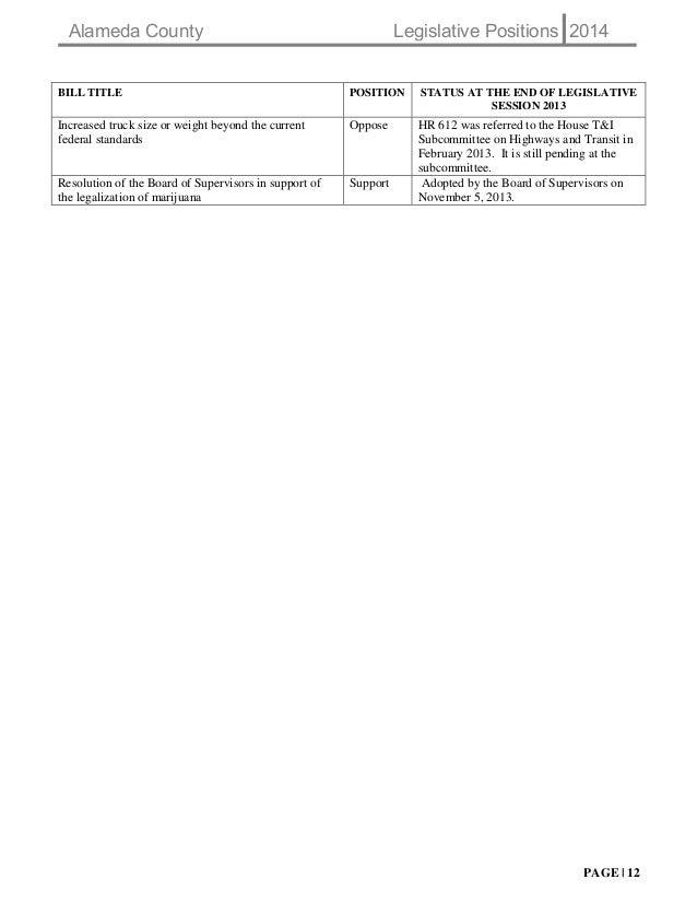 Alameda County Legislative Platform 2014