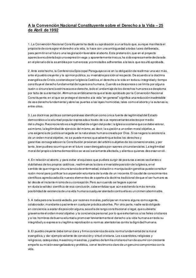 A la Convención Nacional Constituyente sobre el Derecho a la Vida – 25  de Abril de 1992  1. La Convención Nacional Consti...
