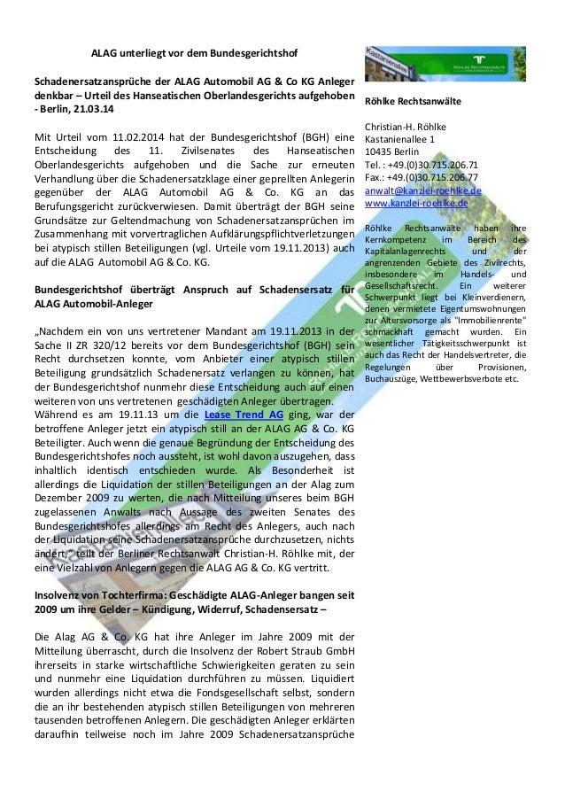 ALAG unterliegt vor dem Bundesgerichtshof Schadenersatzansprüche der ALAG Automobil AG & Co KG Anleger denkbar – Urteil de...