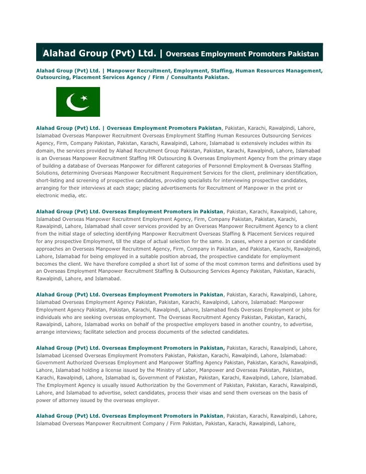 Alahad Group(Pvt) Ltd.  Overseas Employment Promoters PakistanAlahad Group(Pvt) Ltd.   Manpower Recruitment, Employment...