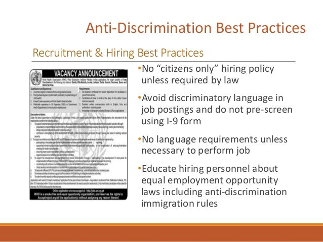 """Anti-Discrimination Best Practices Recruitment & Hiring Best Practices •No """"citizens only"""" hiring policy unless required b..."""