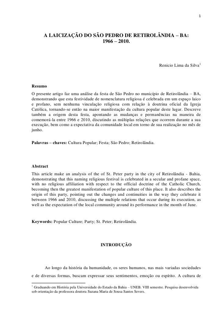 1       A LAICIZAÇÃO DO SÃO PEDRO DE RETIROLÂNDIA – BA:                          1966 – 2010.                             ...