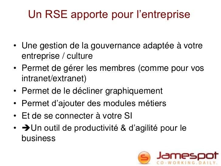 Un RSE apporte pour l'entreprise• Une gestion de la gouvernance adaptée à votre  entreprise / culture• Permet de gérer les...