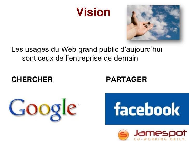 VisionLes usages du Web grand public d'aujourd'hui   sont ceux de l'entreprise de demainCHERCHER                   PARTAGER