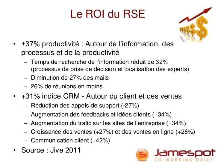 Le ROI du RSE• +37% productivité : Autour de l'information, des  processus et de la productivité   – Temps de recherche de...