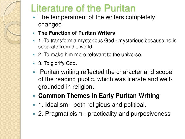 the puritan period and the age In english literature the period from 1660 to 1700 is called the period of restoration,  the restoration period  minor writers of the puritan age.