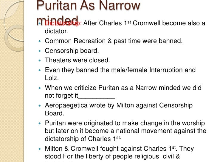 accomplishments of puritans from 1630 1660 1564-1660: the era of puritanism 1564: the word puritan appears for the first time the puritans are calvinists, legalists, and name-callers.