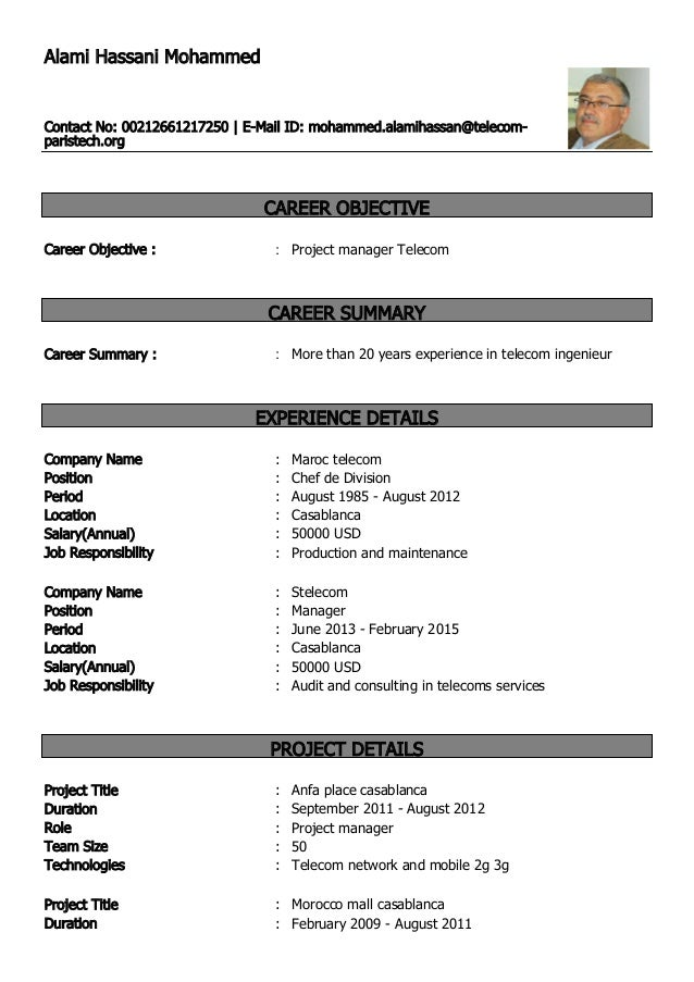 alami hassani mohammed u0026 39 s resume application english mise a jour 1
