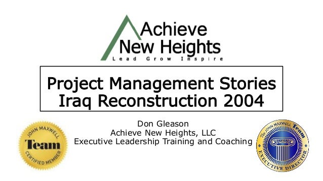 Iraq Reconstruction 2004, Challenges Through Stories