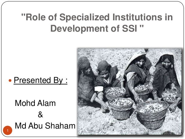 """""""Role of Specialized Institutions in           Development of SSI """" Presented By :    Mohd Alam         &1    Md Abu Shaham"""