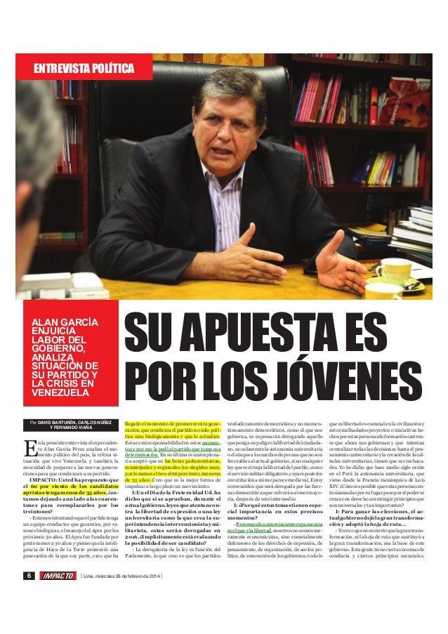 ENTREVISTA POLÍTICA  ALAN GARCÍA ENJUICIA LABOR DEL GOBIERNO, ANALIZA SITUACIÓN DE SU PARTIDO Y LA CRISIS EN VENEZUELA Por...