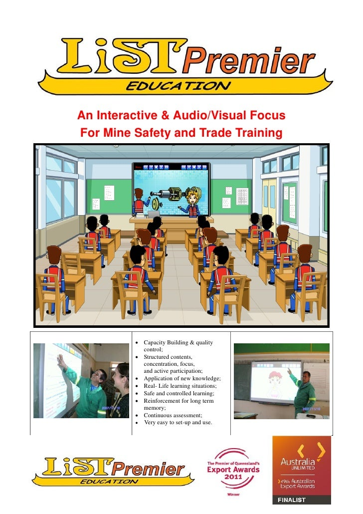 An Interactive & Audio/Visual FocusFor Mine Safety and Trade Training          Capacity Building & quality           cont...