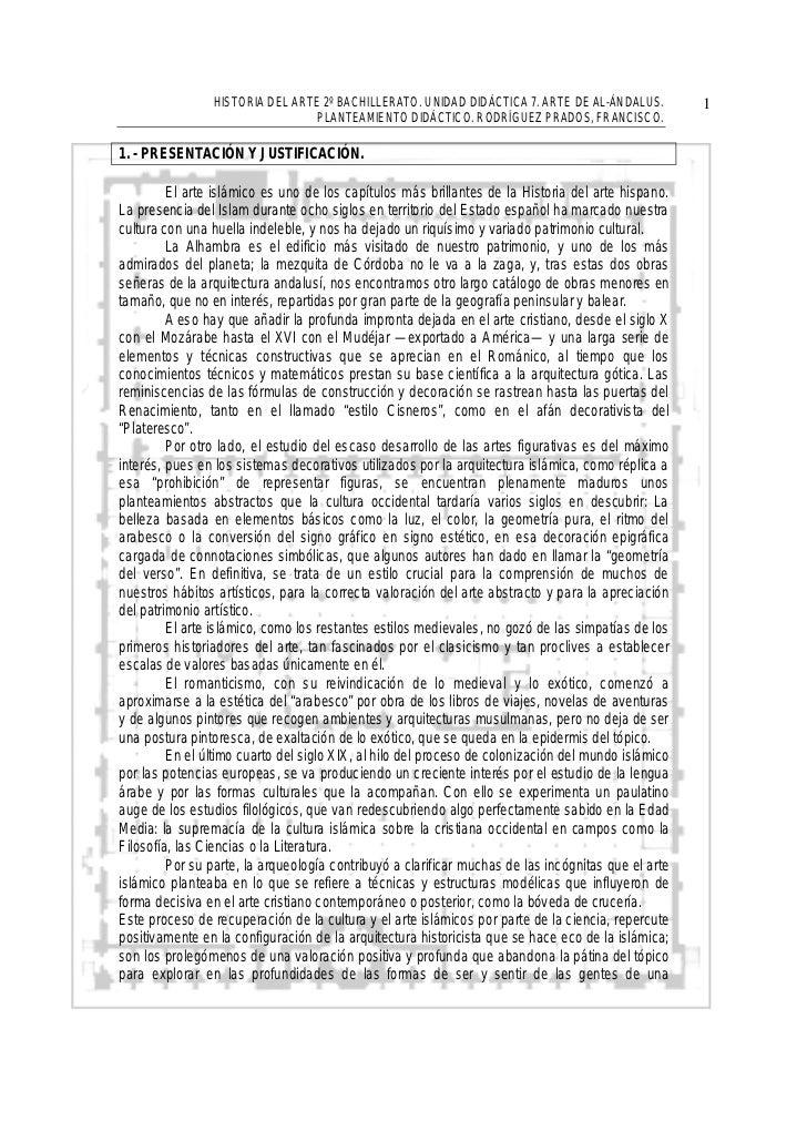 HISTORIA DEL ARTE 2º BACHILLERATO. UNIDAD DIDÁCTICA 7. ARTE DE AL-ÁNDALUS.           1                                PLAN...