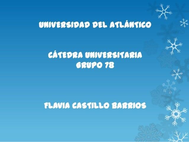 UNIVERSIDAD DEL ATLÁNTICOCÁTEDRA UNIVERSITARIAGRUPO 78FLAVIA CASTILLO BARRIOS