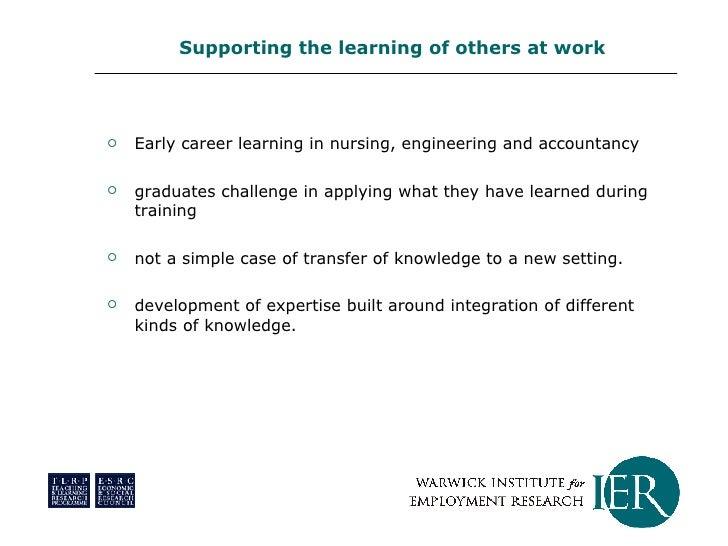 <ul><li>Early career learning in nursing, engineering and accountancy </li></ul><ul><li>graduates challenge in applying wh...