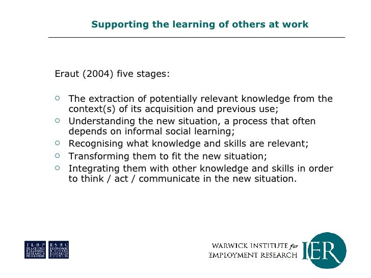 <ul><li>Eraut (2004) five stages: </li></ul><ul><li>The extraction of potentially relevant knowledge from the context(s) o...