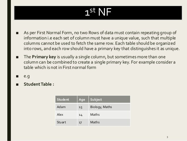 Normalization,1st NF, 2nd NF, 3rd NF, BCNF, 4th NF, 5th NF