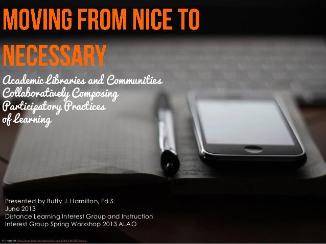 Academic Libraries and CommunitiesCollaboratively ComposingParticipatory Practicesof LearningCC image via http://www.flick...