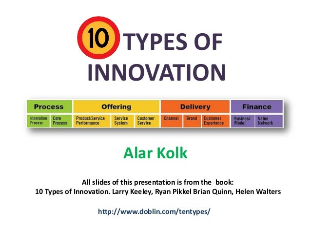 10 TYPES OF INNOVATION Alar Kolk All slides of this presentation is from the book: 10 Types of Innovation. Larry Keeley, R...