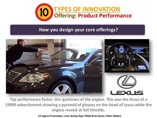 TYPES OF INNOVATION  Offering: Product Performance  How you design your core offerings?  Top performance factor: the quiet...
