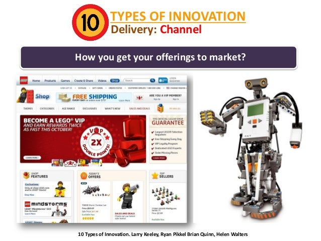 TYPES OF INNOVATION Delivery: Channel  How you get your offerings to market?  10 Types of Innovation. Larry Keeley, Ryan P...
