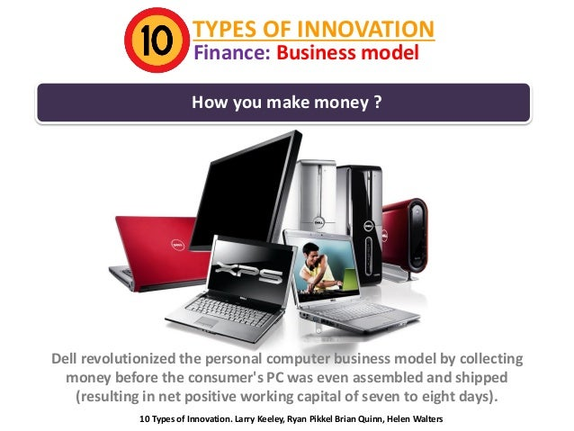 TYPES OF INNOVATION Finance: Business model  How you make money ?  Dell revolutionized the personal computer business mode...