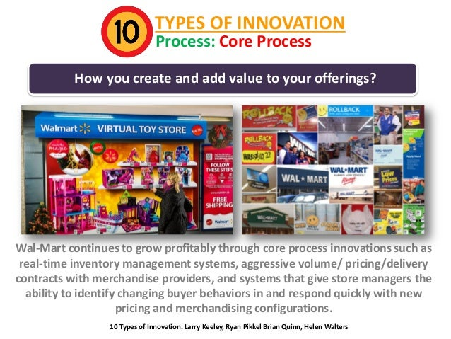 TYPES OF INNOVATION Process: Core Process  How you create and add value to your offerings?  Wal-Mart continues to grow pro...