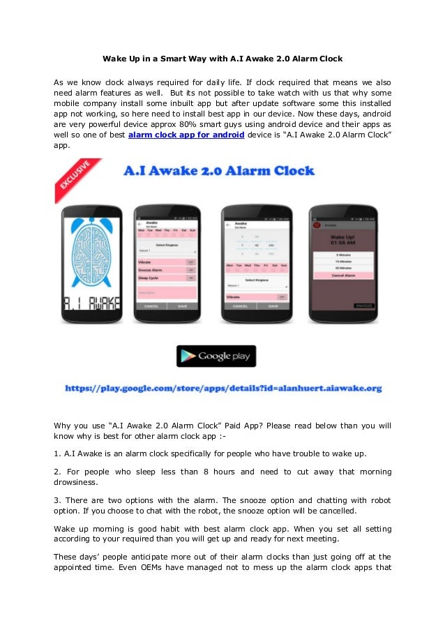 Alarm clock app for android