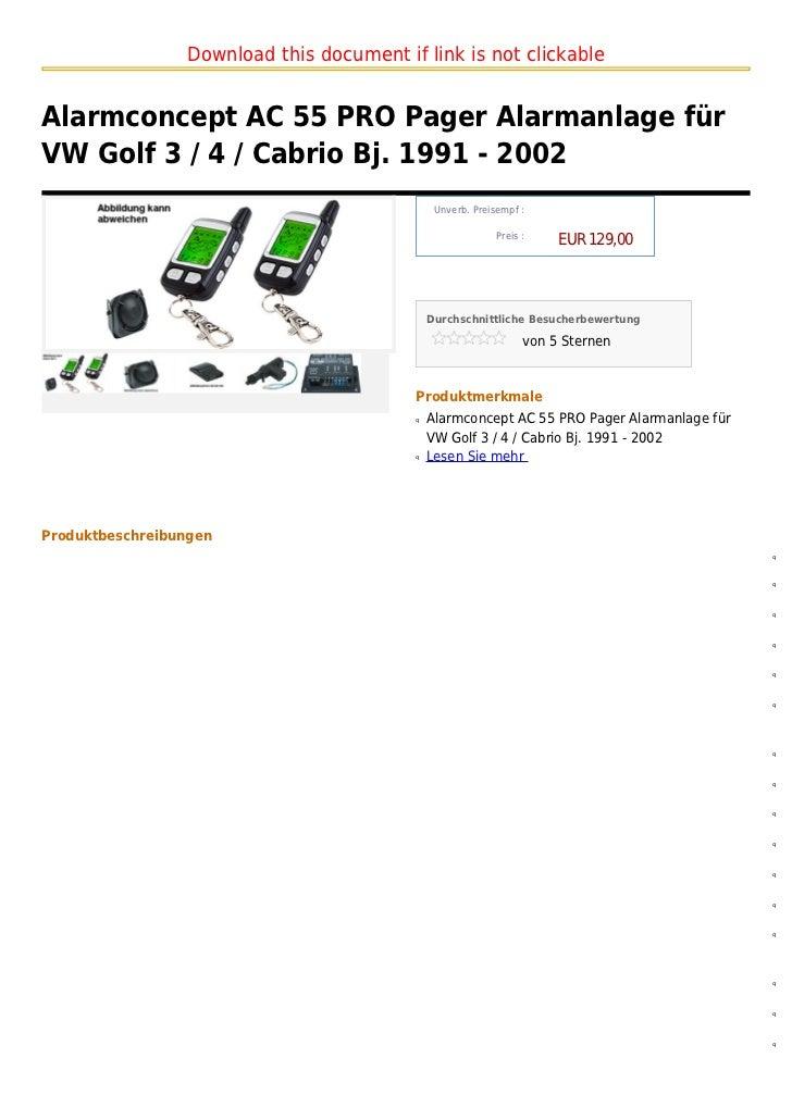 alarmconcept ac 55 pro pager alarmanlage f r vw golf 3 4. Black Bedroom Furniture Sets. Home Design Ideas
