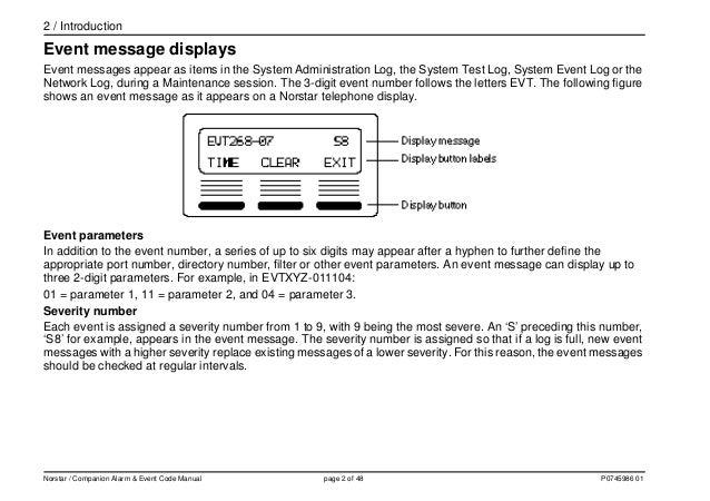 Nortel MICS Alarm event code manual