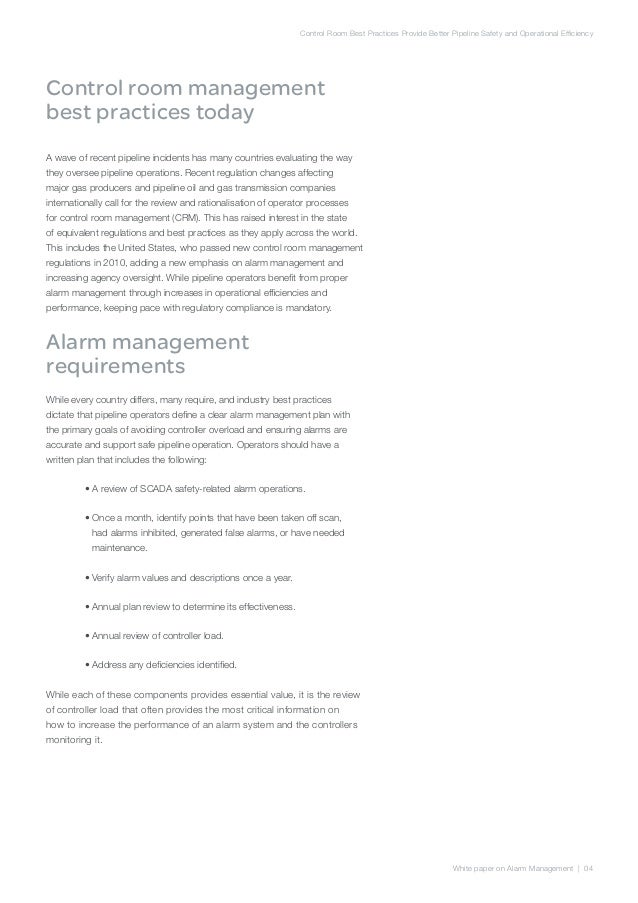 Safer control rooms through best practices in alarm management; 6.