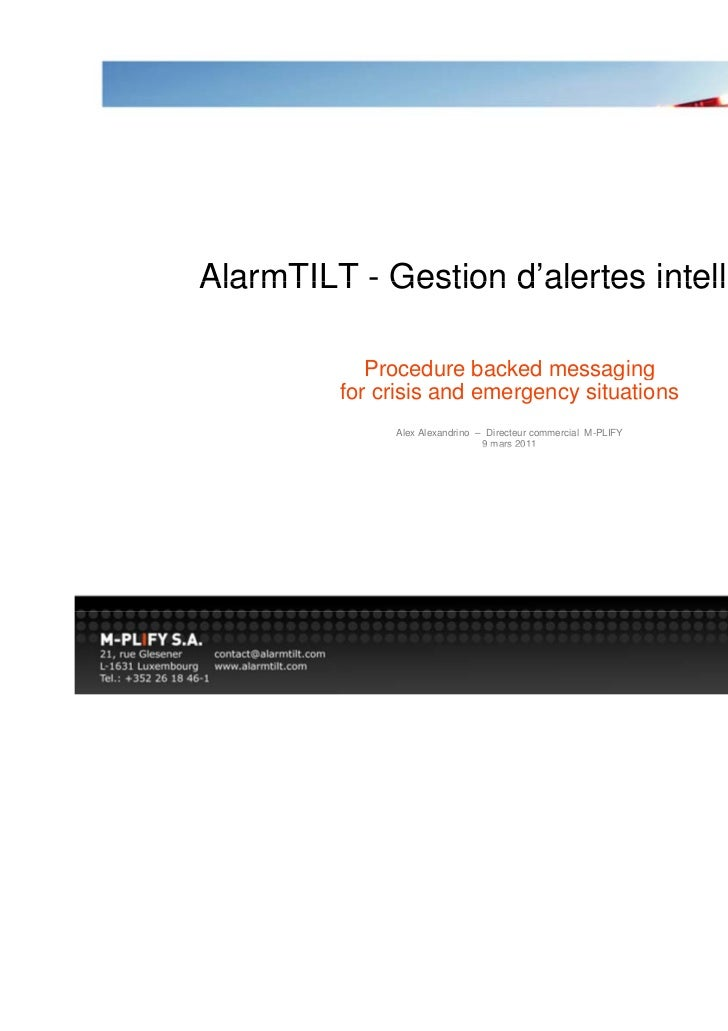 AlarmTILT - Gestion d'alertes intelligente                    d alertes            Procedure            Proced re backed m...