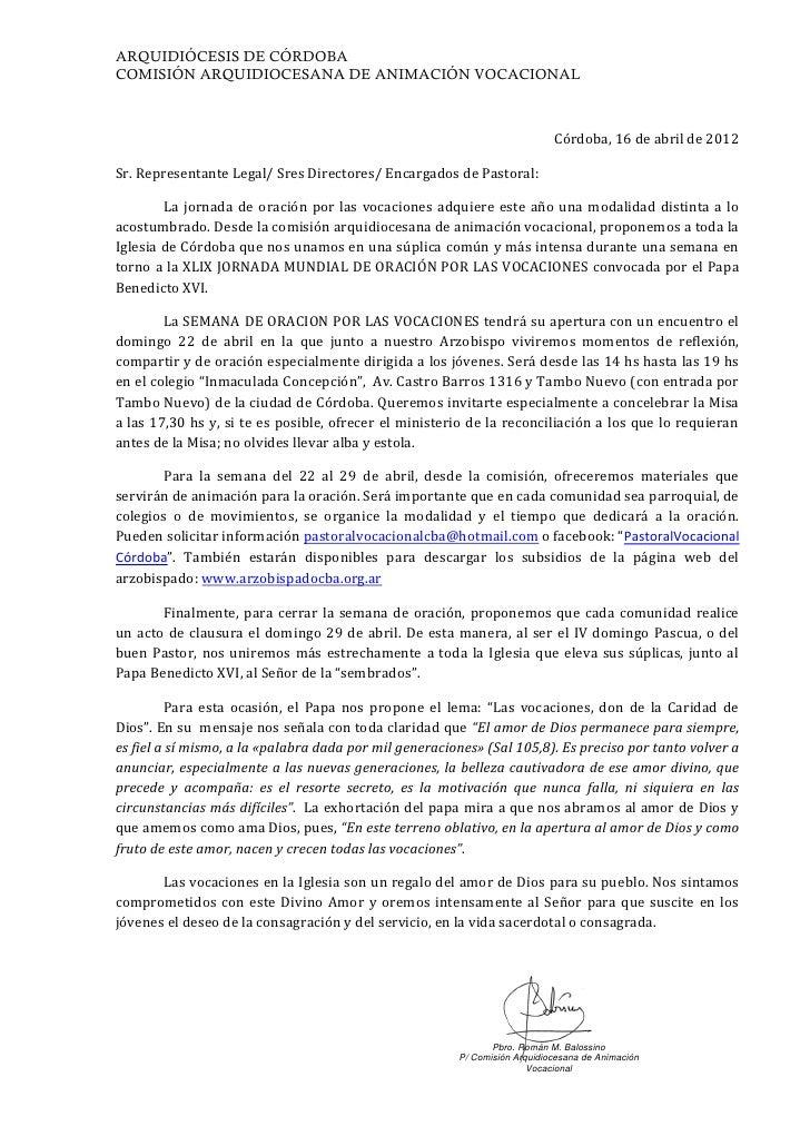 ARQUIDIÓCESIS DE CÓRDOBACOMISIÓN ARQUIDIOCESANA DE ANIMACIÓN VOCACIONAL                                                   ...
