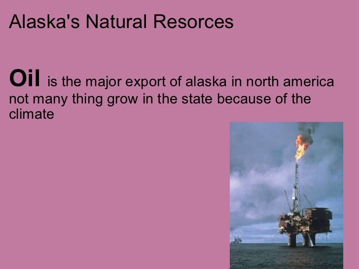 Alaska's Natural Resorces <ul><li>Oil  is the major export of alaska in north america not many thing grow in the state bec...