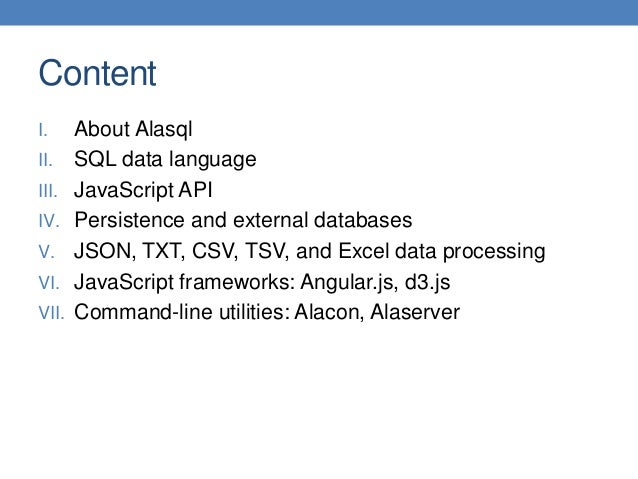 Alasql JavaScript SQL Database Library: User Manual