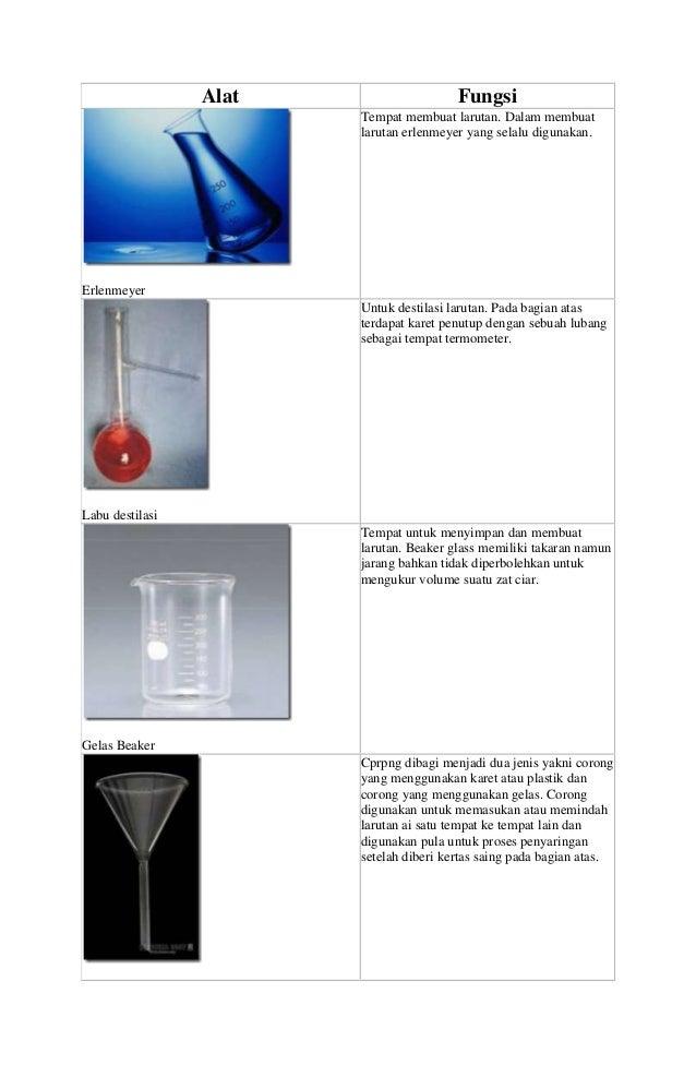 Alat  Fungsi Tempat membuat larutan. Dalam membuat larutan erlenmeyer yang selalu digunakan.  Erlenmeyer Untuk destilasi l...