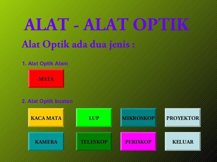 ALAT - ALAT OPTIKAlat Optik ada dua jenis :1. Alat Optik Alam      MATA2. Alat Optik buatan   KACA MATA             LUP   ...
