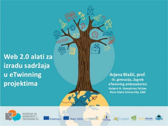 Web 2.0 alati za izradu sadržaja u eTwinning projektima Arjana Blažić, prof. IX. gimnazija, Zagreb eTwinning ambasadorica ...