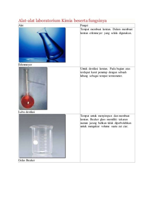 Alat Lab Beserta Fungsinya Kimia