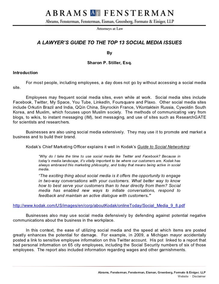 A LAWYER'S GUIDE TO THE TOP 13 SOCIAL MEDIA ISSUES                                                         By             ...