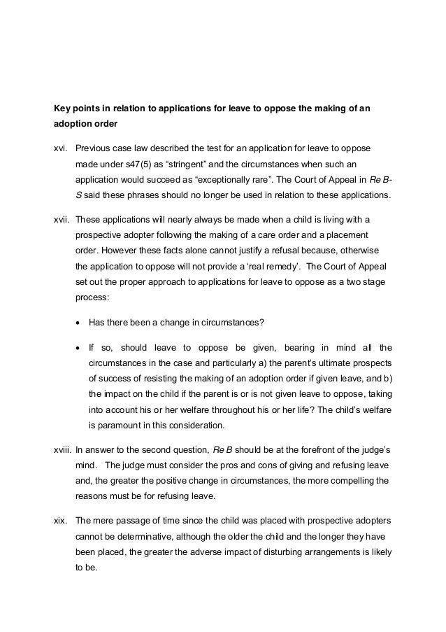 Key points in relation to applications for leave to oppose the making of an  adoption order  xvi. Previous case law descri...