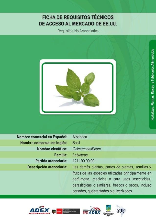 Albahaca Basil Ocimum basilicum Labiateae 1211.90.90.90 Las demás plantas, partes de plantas, semillas y frutos de las esp...